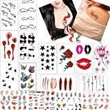 14PCS Waterproof Temporary Tattoos Body Art Tattoo Sexy Rose Flower Butterfly Infinity Love Symbol Fox Cat Lip Star Bird Scar Feather for Women Teens Girls 4PC Nail Art Stickers (LOHSET005A) (Color: LOHSET005A)