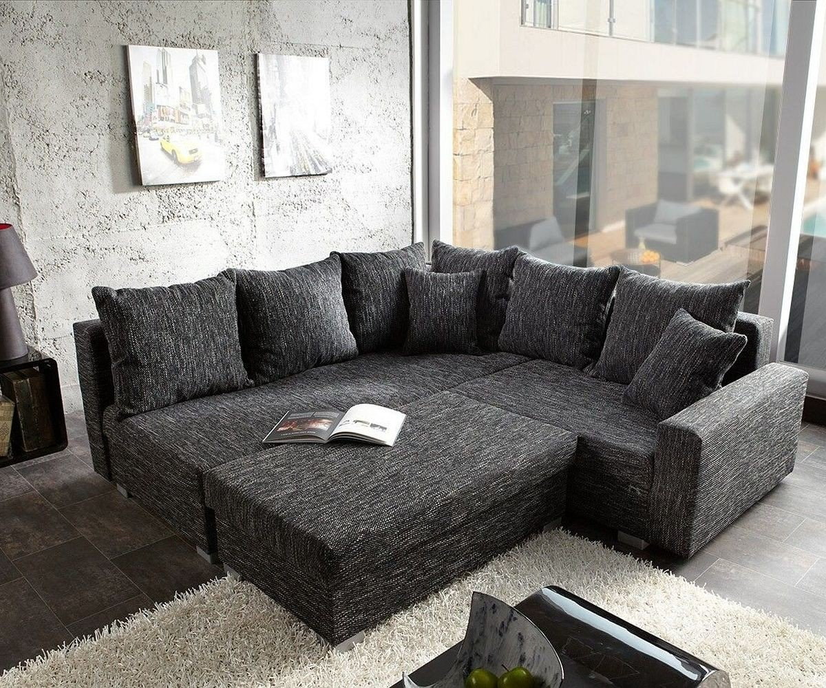 Sofa Lavello Schwarz 210×210 Couch Wohnlandschaft Ecksofa mit Hocker günstig