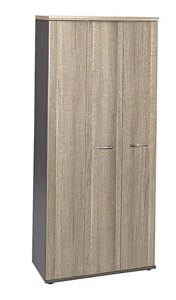 Gami K17430 Jazzy Armoire avec 3 Portes/4 Étagères Réglables En Hauteur Panneaux de Particules Chêne/Gris Foncé 48 x 80 x 183 cm