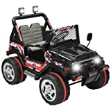 Uenjoy  Kids Ride on Car /12V Electric Car for Kids with Remote Control/ 3 Speeds/ Leather Seat/ Head Lights Model HP-011 - Black (Color: Black)