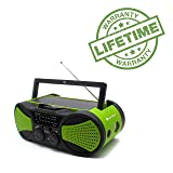 Emergency Crank NOAA Weather Radio, Audio Speaker, RunningSnail AM/FM 4-Way Powered Radio with 4000mAh Battery, LED Flashlight, Reading Lamp, SOS Alarm and Cellphone Charger (Green) (Color: green)