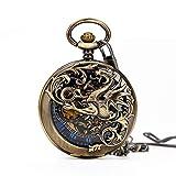 Retro Mens Bronze Dragon Half Double Hunter Skeleton Mechanical Blue Roman Numerals Pocket Watch with Chain Box
