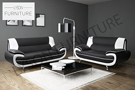 PALERMO 3+2 Sofa Set (Different Colours) (3 Seater, Black & White)