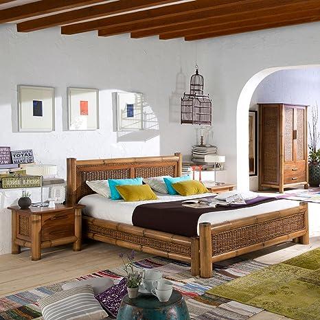 Kolonial Bett Natur Bambus-Bett Kolonialstil Möbel Bambusbetten Holzbett honigAntik