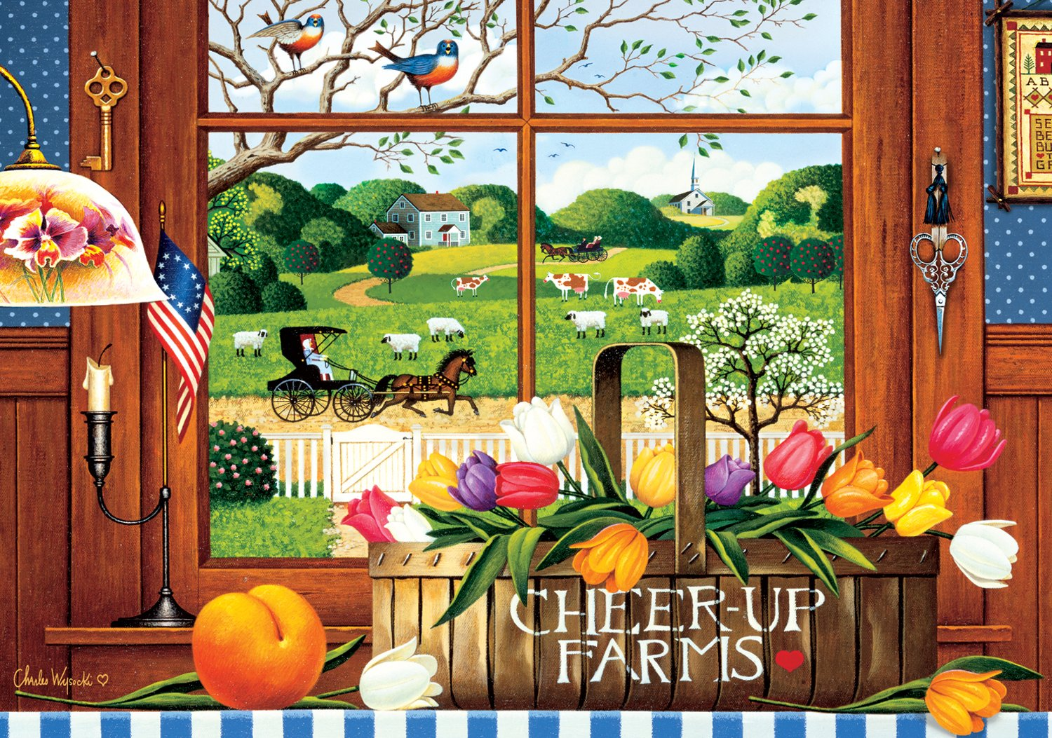 Buffalo Games A Peach of a Day by Charles Wysocki Jigsaw Puzzle (300 Piece), Large