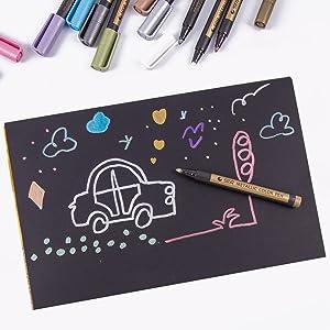Metallic Markers Paint Pens - Medium Fine Point Metal Art Permanent Marker for Painting Rocks,Black Paper,Photo,Album,Scrapbooking, Christmas Craft Kids - Pack of 10 (Color: 10 Colors)