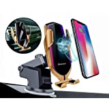 Balbo QI Wireless Car Charger Mount Automatic Clamping Fast Charging Phone Holder Dashboard Air Vent Windshield Dash Compatible with iPhone 11 Pro Max/Xs Max/XR/Xs/8 Plus+ Samsung Galaxy S10e/S10/S9 (Color: Gold)