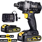 Impact Driver 20V, TECCPO 1600In-lbs Cordless Impact Driver Kit with 2pcs 2.0Ah Batteries, 30 Minutes Fast Charger, 0-2900RPM Speed, 1/4