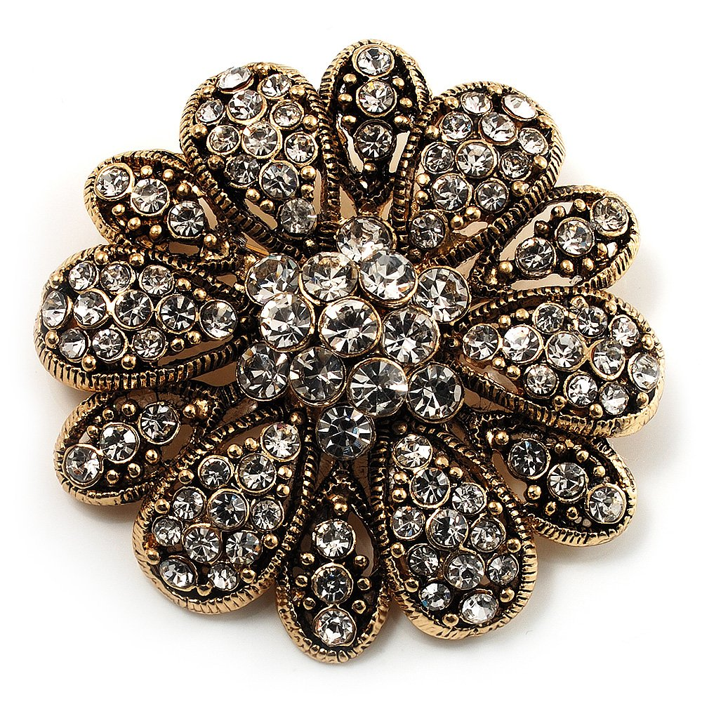 Vintage Swarovski Crystal Floral Brooch (Antique Gold) 0