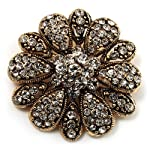 Vintage Swarovski Crystal Floral Brooch (Antique Gold)