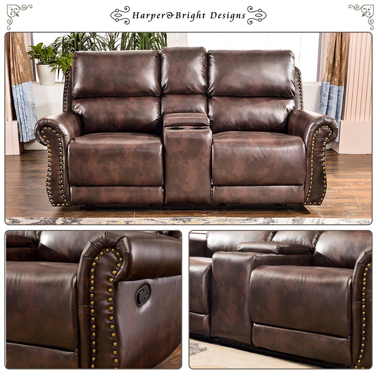 Harper & Bright Designs Sectional Recliner Sofa Set (Brown) (Loveseat)