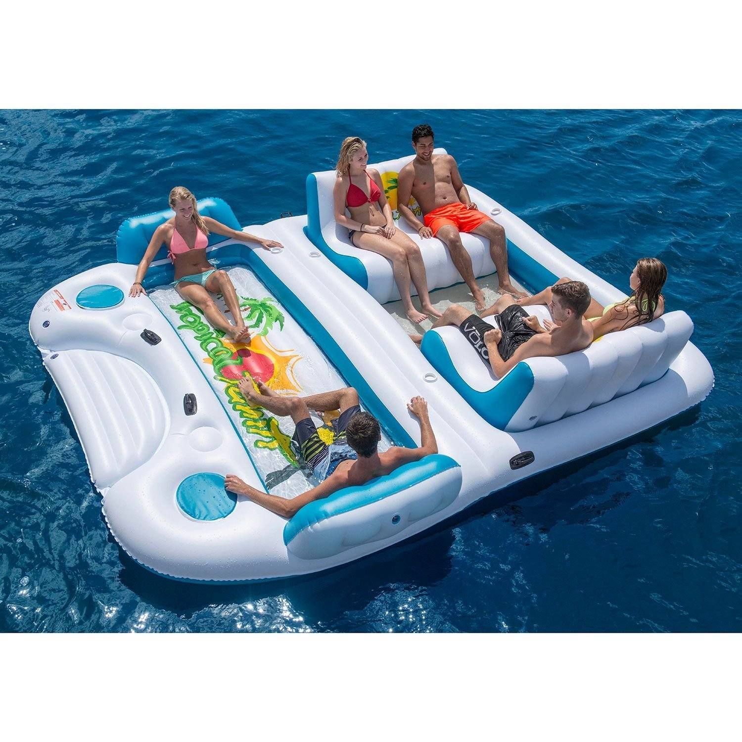 Party Island Beach: Inflatable Floating 6 Person Lake Island Raft Relax River