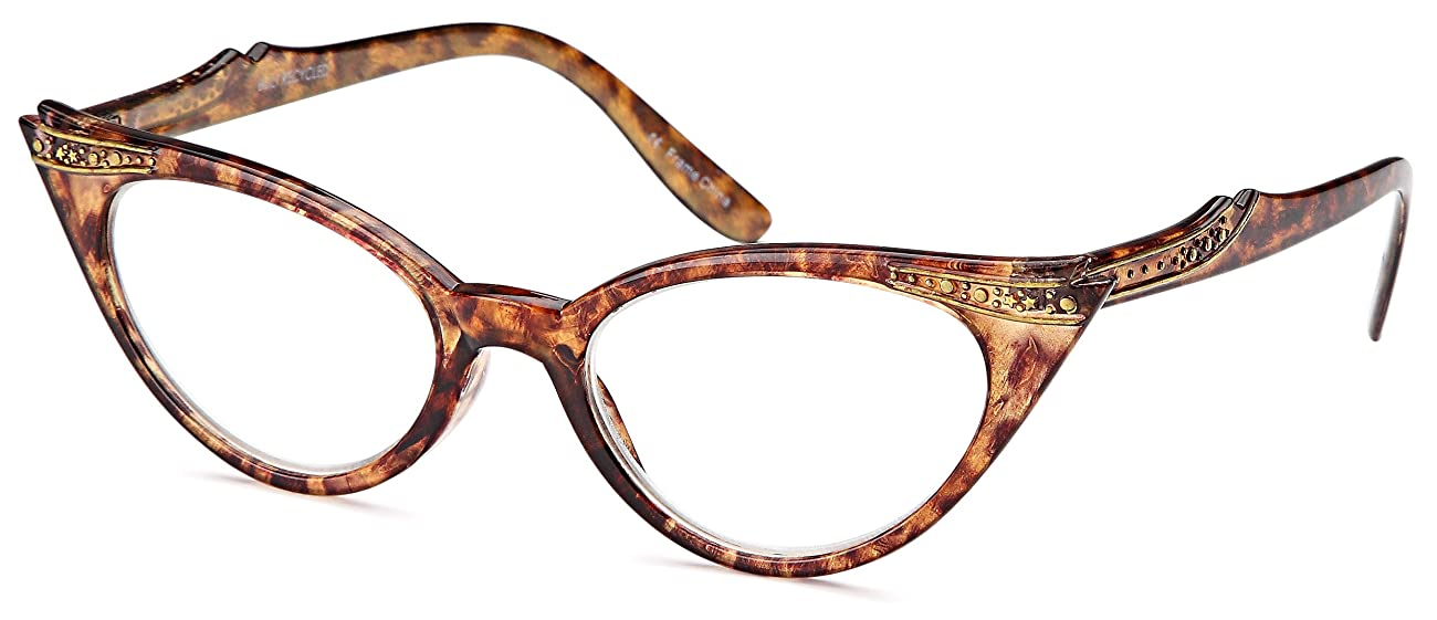 GAMMA RAY READERS 3 Pairs Ladies' Vintage Cat Eye Readers Quality Reading Glasses for Women - With +2.00 Magnification 2