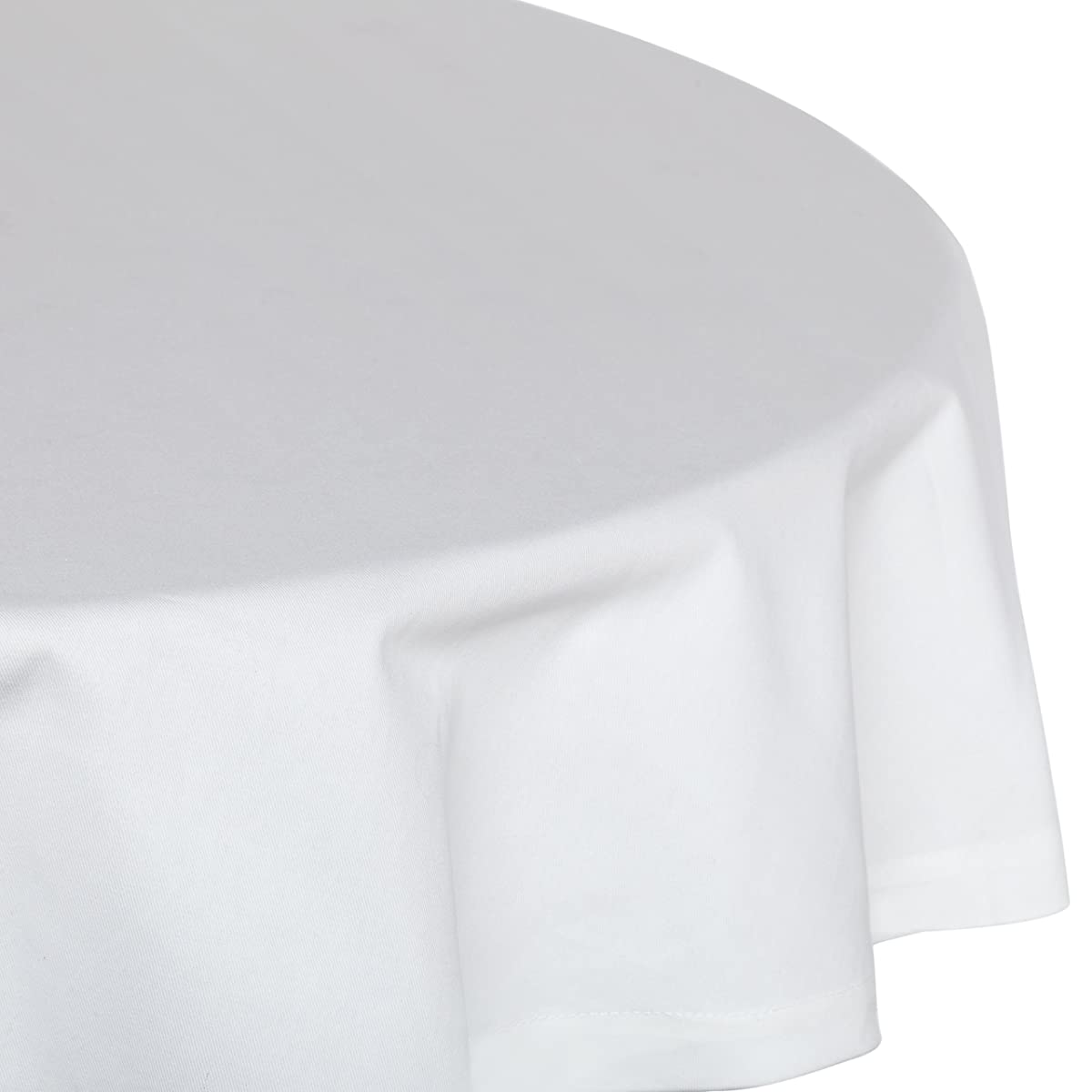 "KAF Home Buffet Tablecloth in White, 70"" Round, 100% Cotton, Machine Washable"