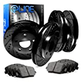 Ceramic Pads A379 Front,Rear PowerSport Black Drilled  Slotted Brake Rotors
