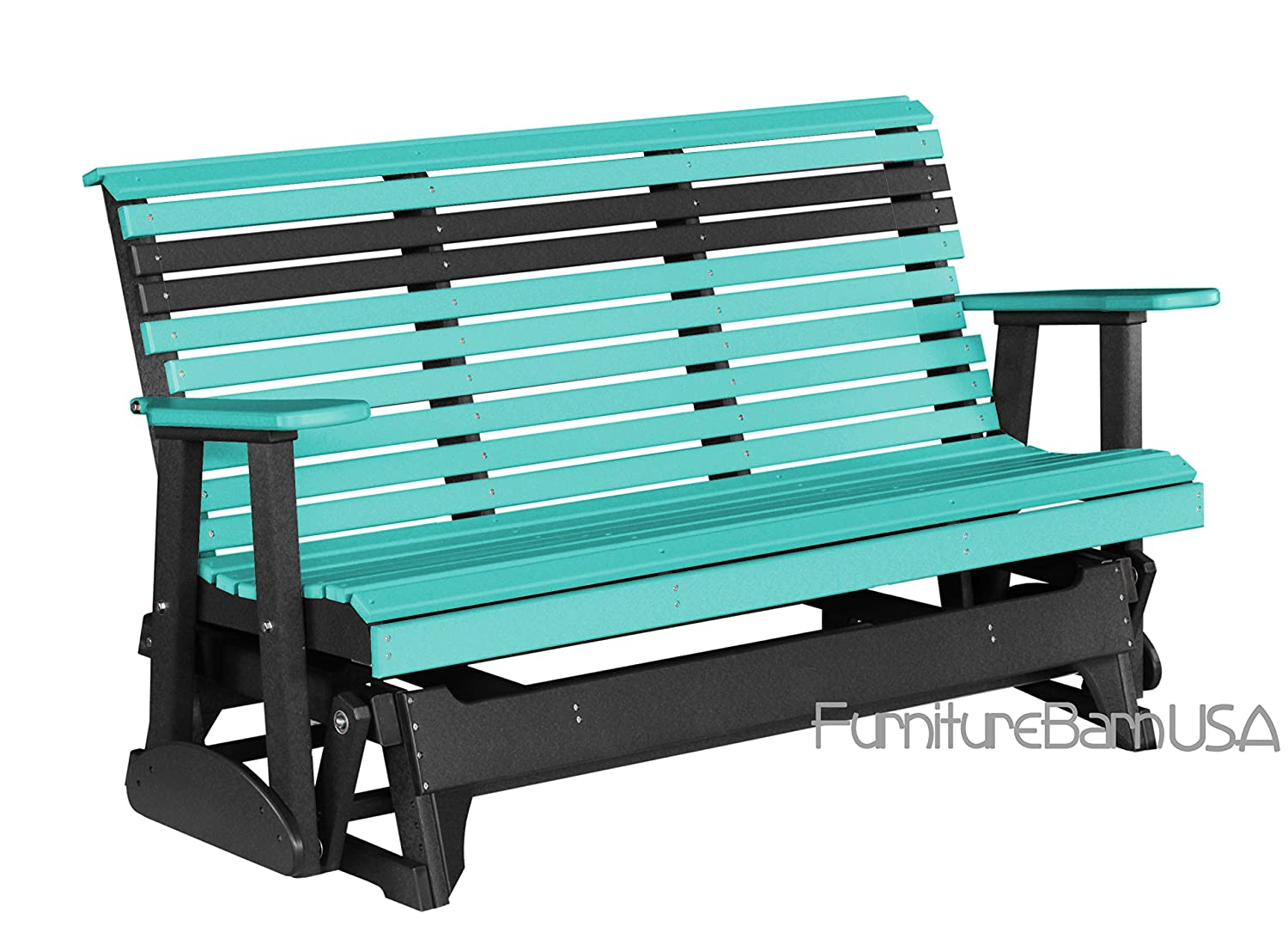 Outdoor Polywood 5 Foot Porch Glider - Plain Rollback Design *ARUBA BLUE/BLACK * Color 73 outdoor recycled earth friendly bar table aruba green with black frame