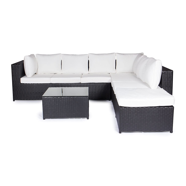 Vanage Gartenmöbel-Sets XXXL-Gartengarnitur, Chill und Lounge Set Montreal, bereits zusammengebaut, schwarz / weiß günstig kaufen
