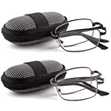 DOUBLETAKE 2 Pairs Foldable Readers in Portable Nylon Zip Cases Folding Reading Glasses - 2.00x