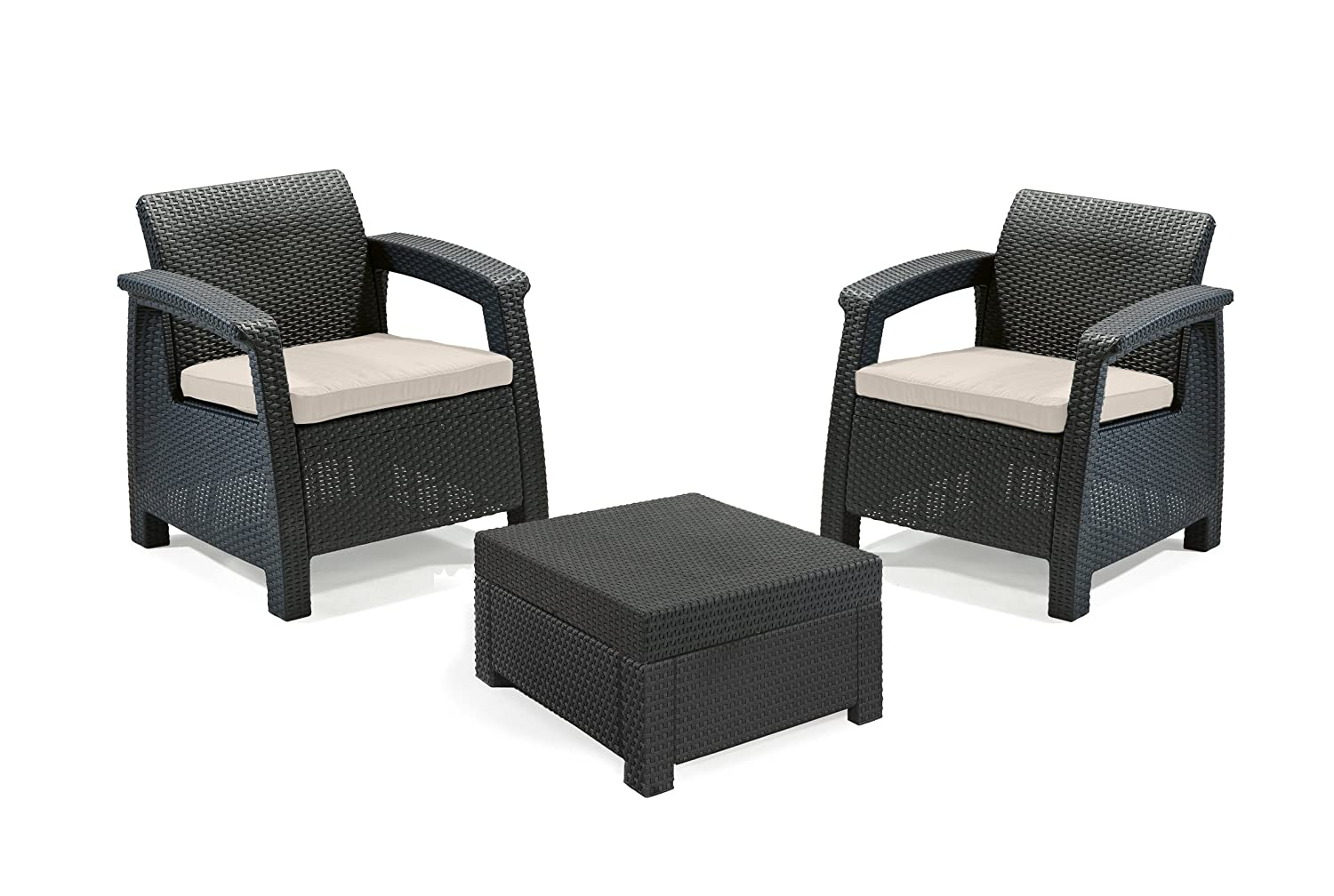 keter lounge set corfu balcony grau g nstig kaufen. Black Bedroom Furniture Sets. Home Design Ideas