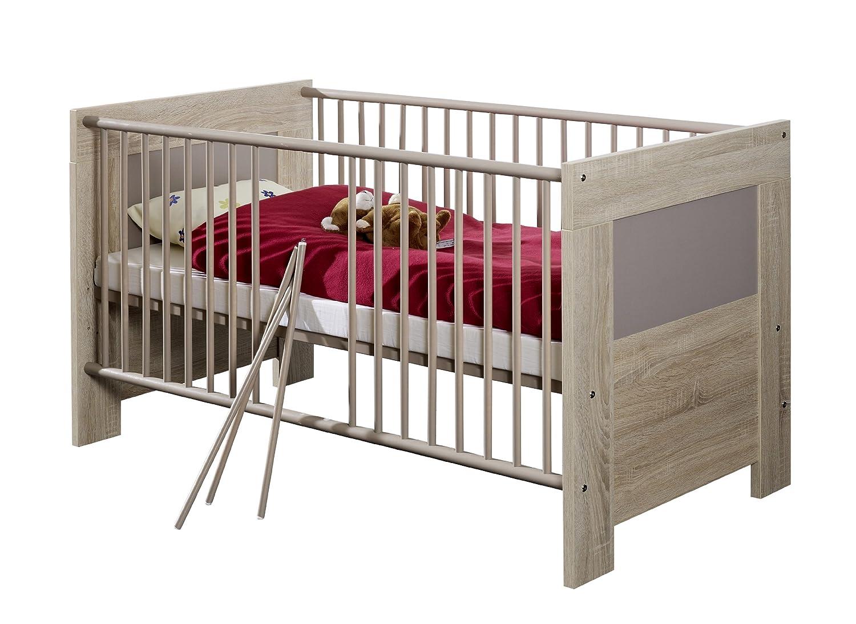 iovivo Kinderbett Max mit Seitenteile und Lattenrost Eiche-Sägerau/Weiss matt