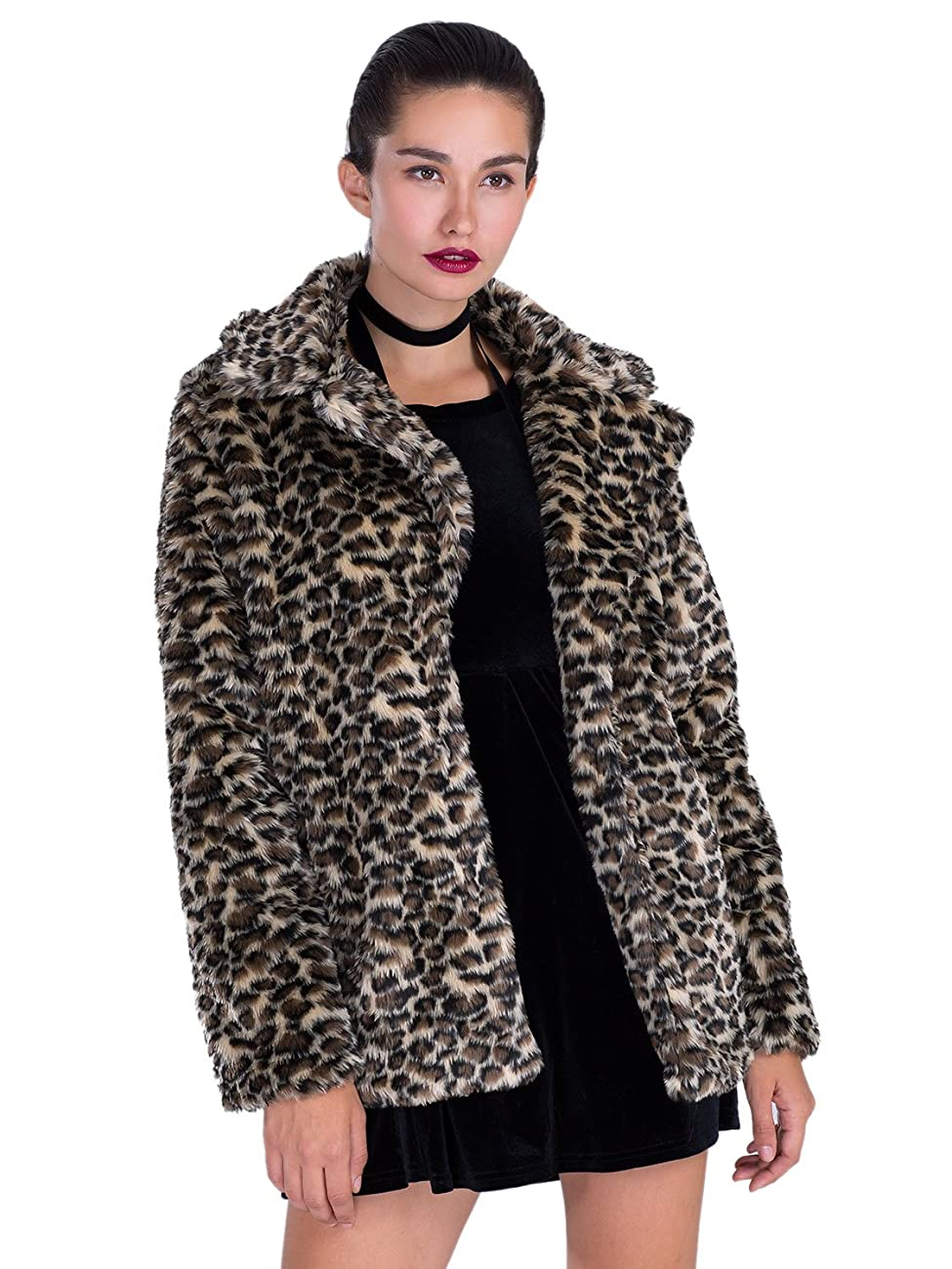 Choies Women Elegant Vintage Leopard Print Lapel Faux Fur Coat Fall Winter Outwear 0