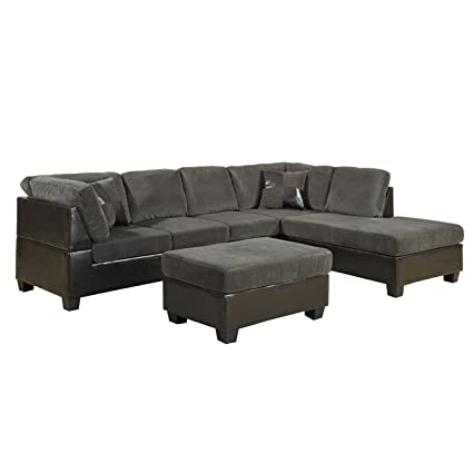 US Pride Sierra Corduroy Sectional Sofa with Storage Ottoman, Right, Sage