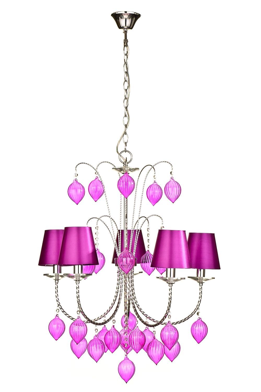 Premier Housewares Kerzenleuchter, 5-armig, mit Stofflampenschirmen und Glastropfen, 75x57x57cm, Pink Hot Pink