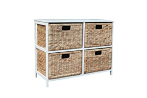 Loxley White Wooden Storage Unit with 4 Rattan Basket Drawers       reviews and more information