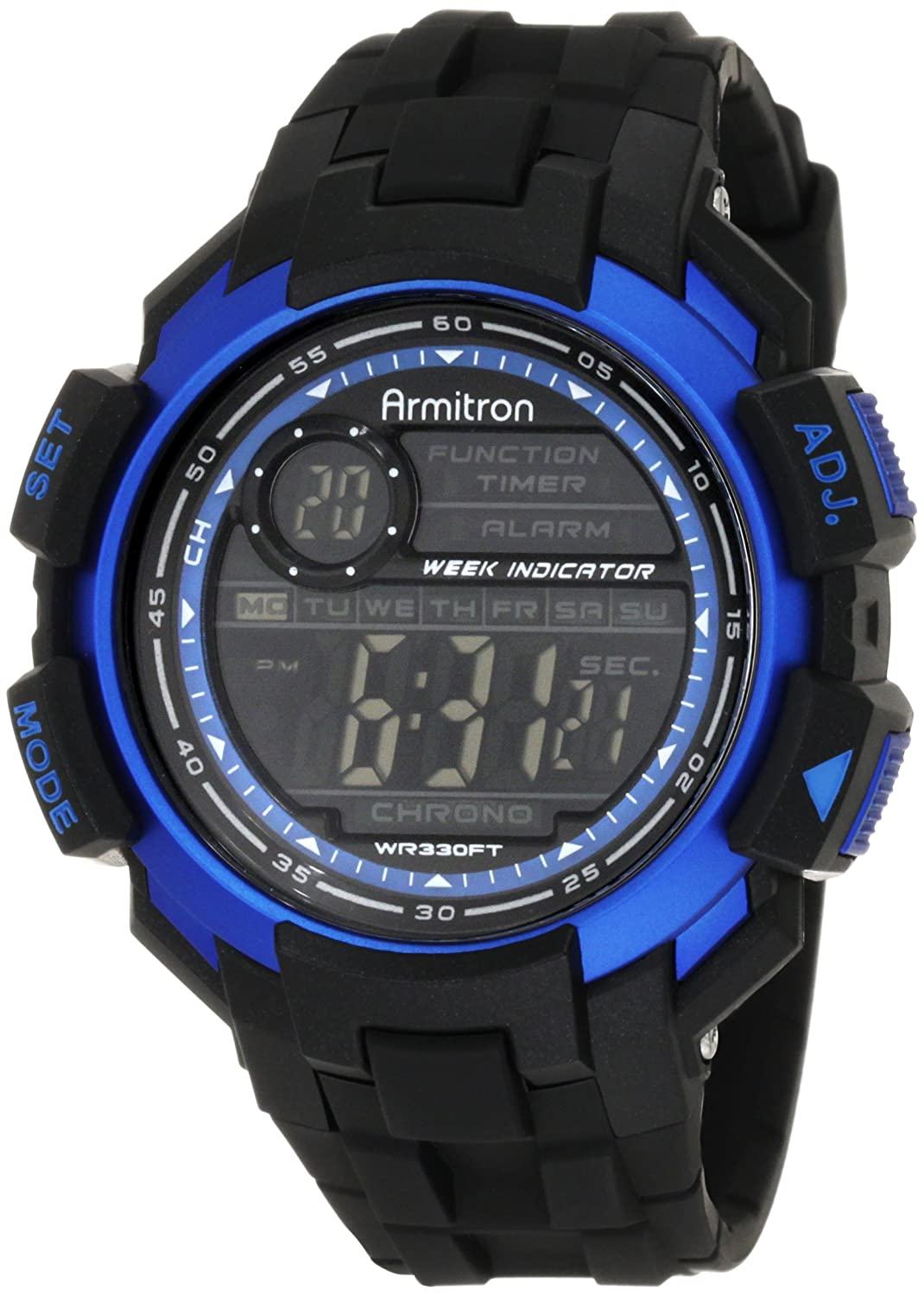 Armitron Men's 40/8258BLU Chronograph Black Resin Blue Accented Digital Watch