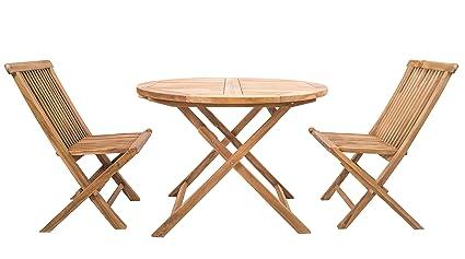 Shenley Teak Wooden Dining Table & 2 Chairs Garden Furniture Set