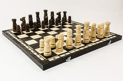 CASTLE 50cm / 20in Décoré Luxe Sculptée Jeu d'échecs en bois, Handcrafted Classic Game