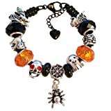 Halloween Charm Bracelet for Women & Girls, Black Steel Snake Chain and Faceted Glass Charms, 8 inch (Color: Halloween, Tamaño: 8 Inch (20 cm))
