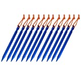 OBKJJ Tent Stakes,7075Aluminium Tent Nail Lightweight with Reflective Rope 12-Piece (Blue) (Color: Blue)