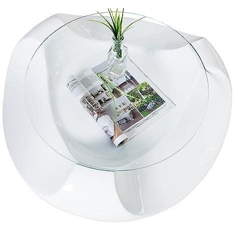 Extravaganter Couchtisch CLUBBING weiss Highgloss Glas Tisch Hochglanz Beistelltisch Glastisch