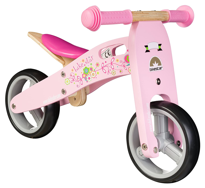 BIKESTAR® Frühstarter Kinderlaufrad für freche Zwerge ab ca. 18 Monaten ★ 7er Natur Holz Edition ★ Flamingo Pink günstig online kaufen