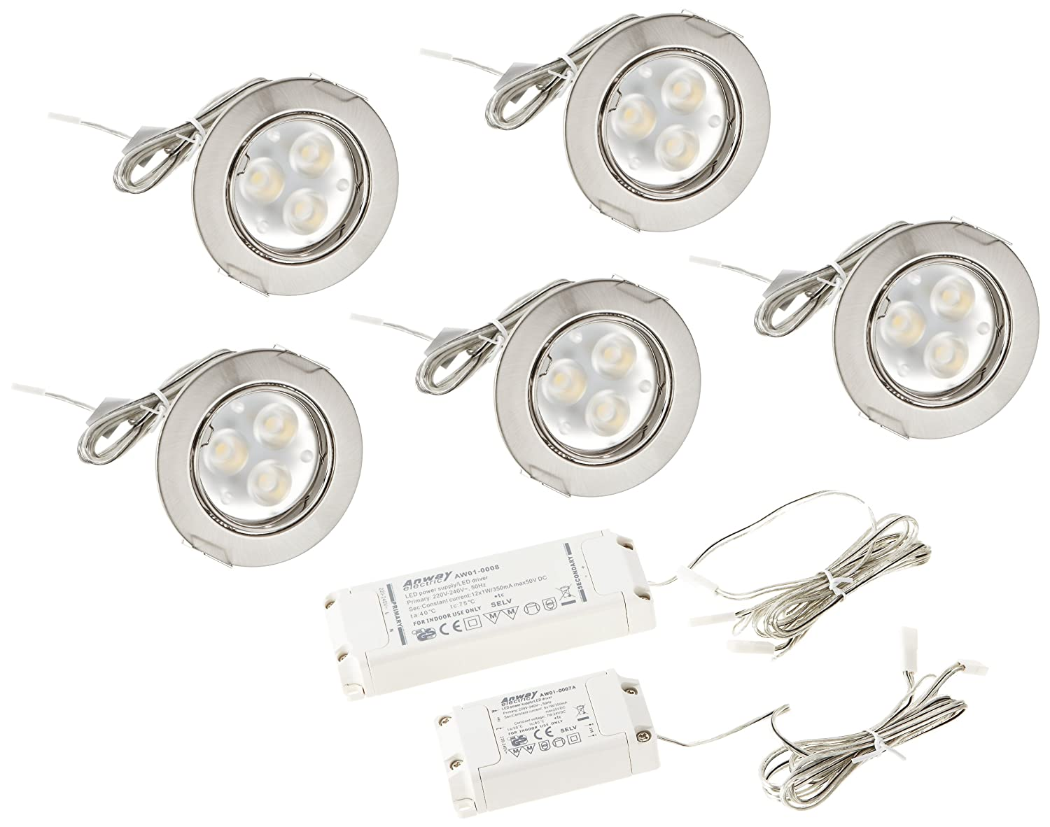 Paulmann 92518 Premium EBL Set Power Flood LED 5x3W 15VA 230V 83mm Eisen geb./Alu Zink