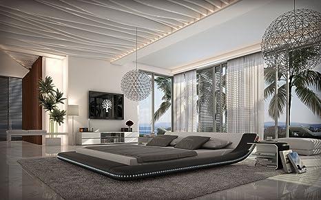 Bett Designerbett Polsterbett Kunstlederbett 160 x 200 cm Schwarz Weiß modernes Design Wasserbett geeignet Ehebett Inkl. RGB LED beleuchtung