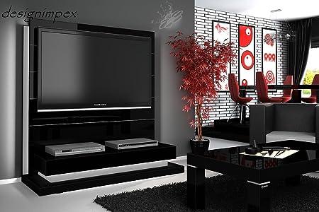 TV Wand HN-222 Schwarz Hochglanz LED Beleuchtung TV Rack inkl. TV-Halterung