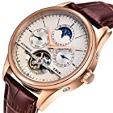 Affute Luxury Men's Automatic Self-Wind Watch with Brown Leather Band (Color: leather strap)