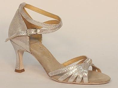 Scarpa da donna per ballo latino-americano incrociato satinato argento  4  39cd7da9415