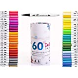 Dual Tip Brush Marker Pens-60 Colors Dual Brush Pens Set Art Brush Markers with Fine Tip and Highlighter for Adult Coloring Books Calligraphy Taking Notes Bullet Journal Drawing Art Projects