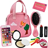 Click N' Play 8 Piece Girls Pretend Play Purse,Including a Smartphone, Car Keys, Credit Card, Lipstick, Lights up and Make Real Life Sounds