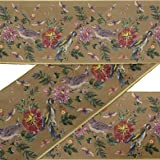 IBA Indianbeautifulart Brown Bird & Dahlia Floral Ribbon Trim Tape Fabric Laces for Crafts Printed Velvet Trim 9 Yard Sewing Accessories 3 Inches (Color: Tortilla Brown, Tamaño: 3 Inches)