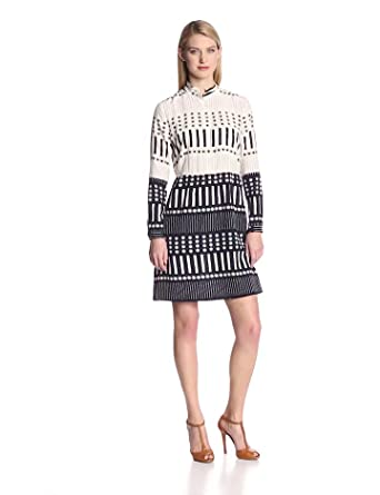 Steven Alan Women's New Thalia Silk Print Long Sleeve Shirt Dress, Navy Stripe, 6