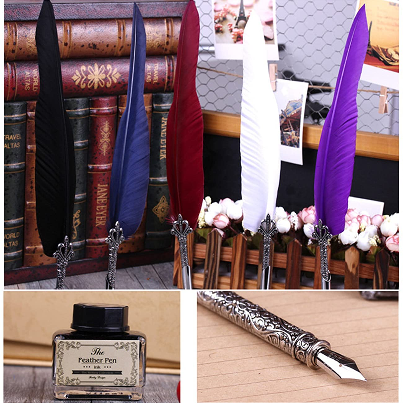 Toyofmine Antique Feather Pen Set (5 Extra Calligraphy Nibs,1 Feather Pen,1 Seal Wax Stick and Stamp with 1 Ink Pot , 1 Pen Holder and 1 Box) 4