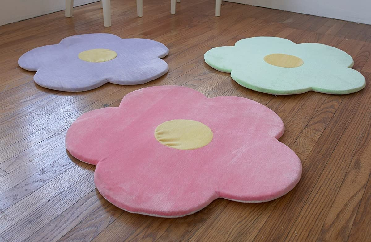 "Flower Area Rug for Kids Girls Room, Girls Area Rugs, Girls Room & Baby Nursery Floor Rugs, Kids Room Decorative 25"" Daisy Flower Pink Rug Mat (Set of 3)"