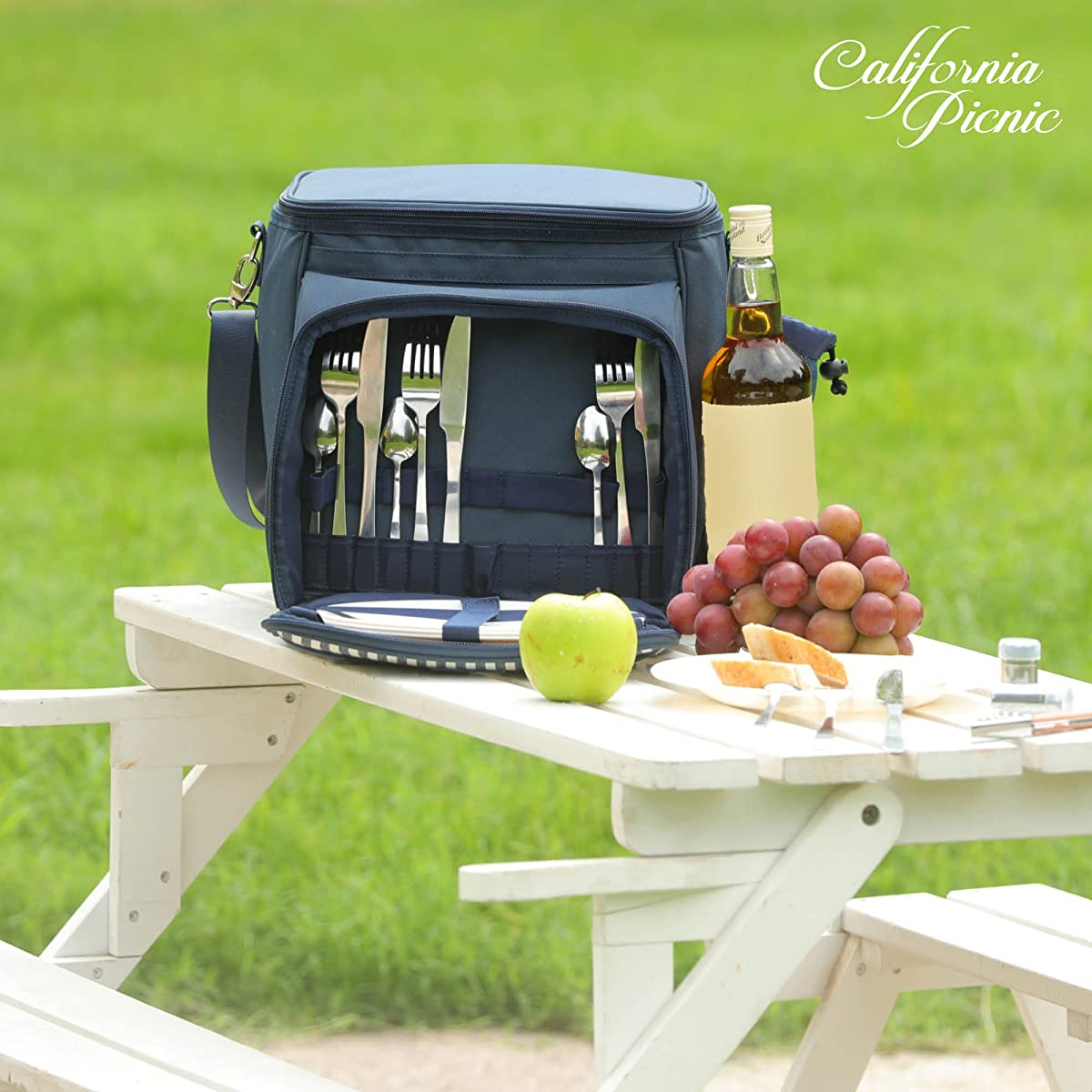 Picnic Basket Tote | Picnic Shoulder Bag Set | Stylish All-in-One Portable Picnic Bag for 4 with Complete Cutlery Set | Salt/Pepper Shakers | Cheese Board | Cooler Bag for Camping | Insulated Tote Bag