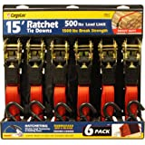 Premium Ratchet Tie Downs - 6 Pk - 15 Ft - 500 Lbs Load Cap - 1,500 Lbs Break Strength - Cargo Straps for Moving Appliances, Lawn Equipment, Motorcycles, etc. - RED (Color: 500 lbs Working Load Limit, Tamaño: 6 Pk - 15 Ft (RED))