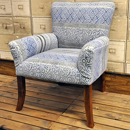 Hand Woven Traditional Kilim Blue Stonewashed Chair Armchair Arm Chair