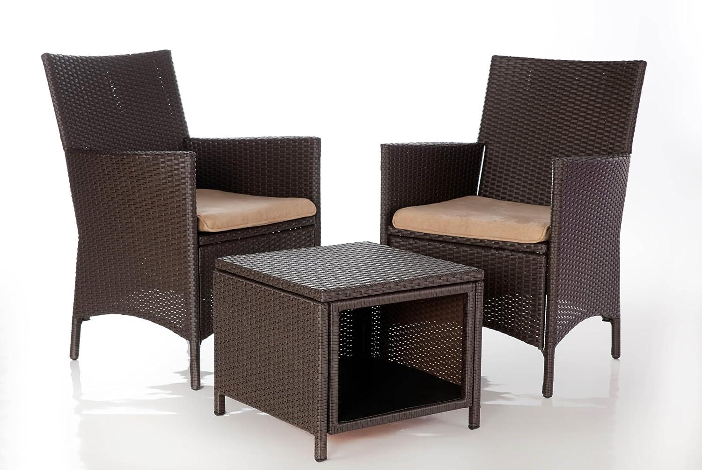 Sitzgruppe ANCONA, 3-teilig, inkl. Auflagen, braun, LILIMO ® kaufen
